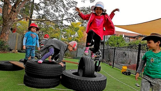 Top of the class: Children enjoy playing at the upmarket Only About Children childcare centre at Neutral Bay.