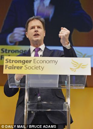Food plan: Nick Clegg announced that all reception, year one and year two pupils would receive school meals under a new Lib Dem policy