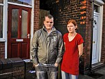 Mark Thomas, 23 and Becky Howe, 23, pictured outside their house on James Turner Street