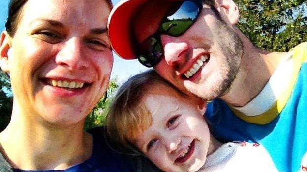 Katya Cooper, her partner and daughter