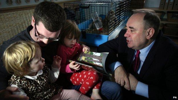 Alex Salmond at an Edinburgh nursery